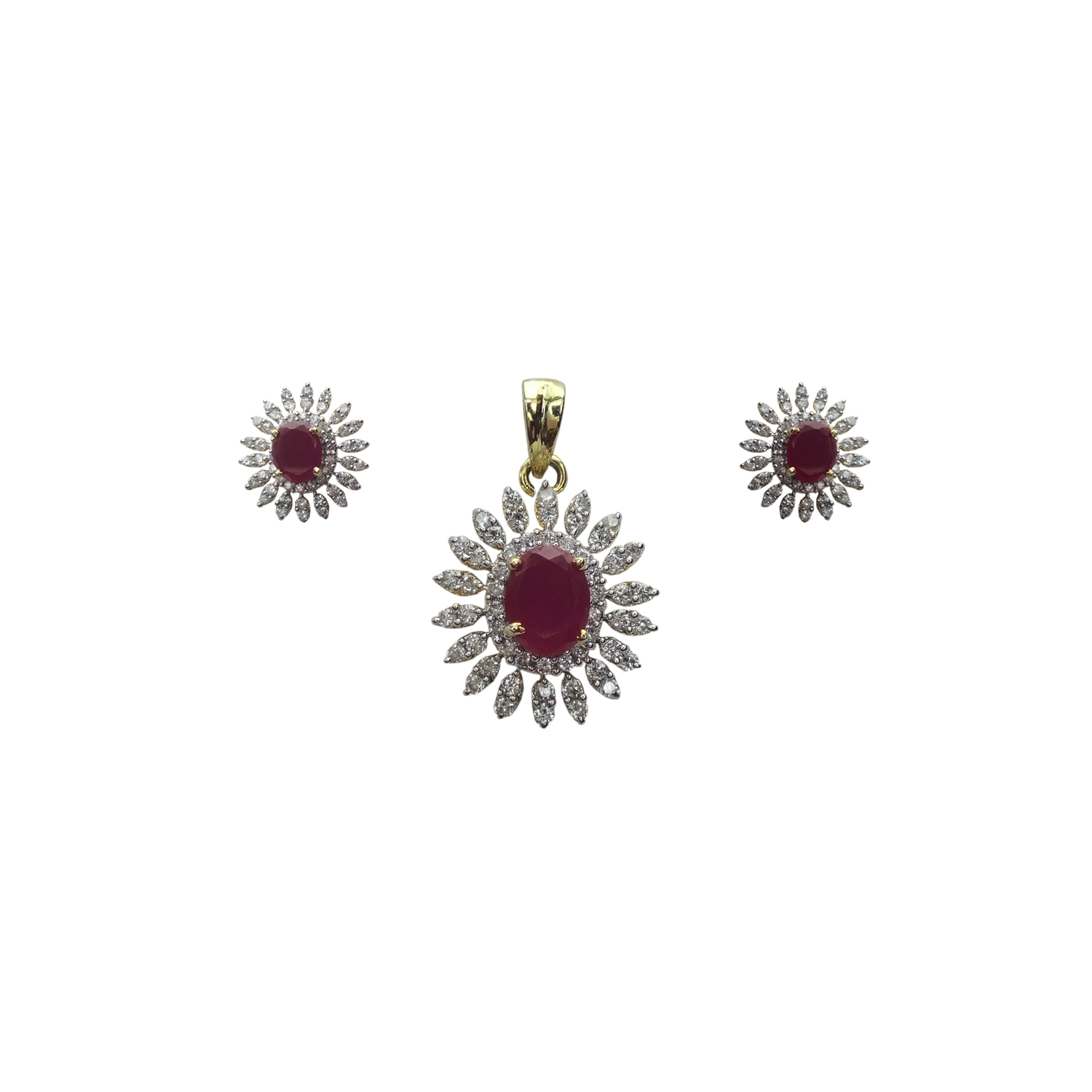 Pendent and Earrings in Ruby and American Diamond – Online ...