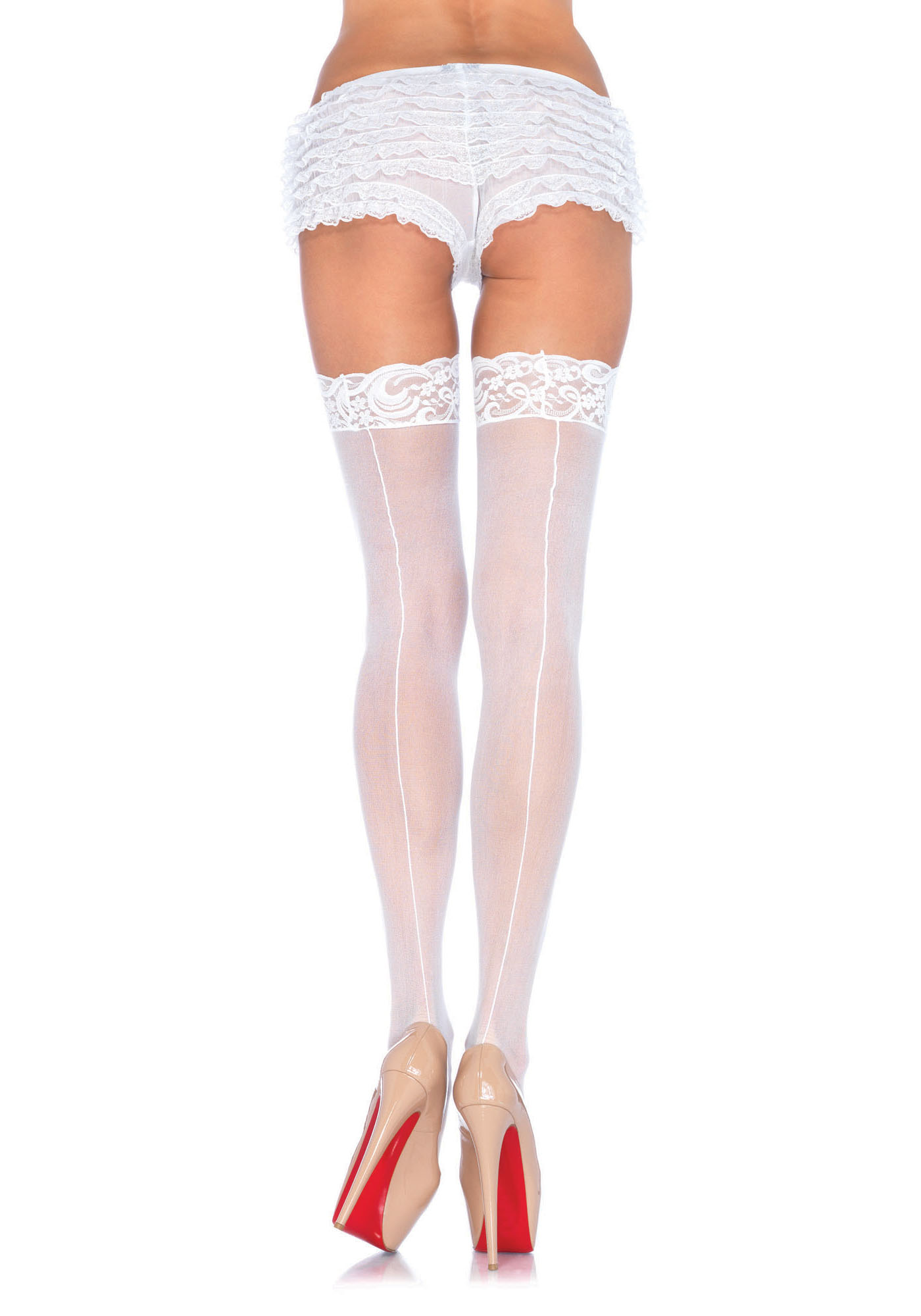 Backseam Stockings W/Lace Top