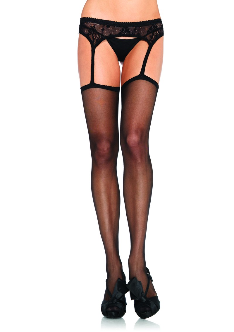 Stockings W/Lace Suspender Belt