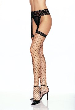 Fence Net Stockings W/Suspender