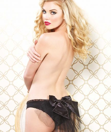 Panty W/Sheer Train & Bow Back