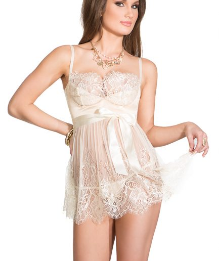 Eyelash Lace & Satin Babydoll