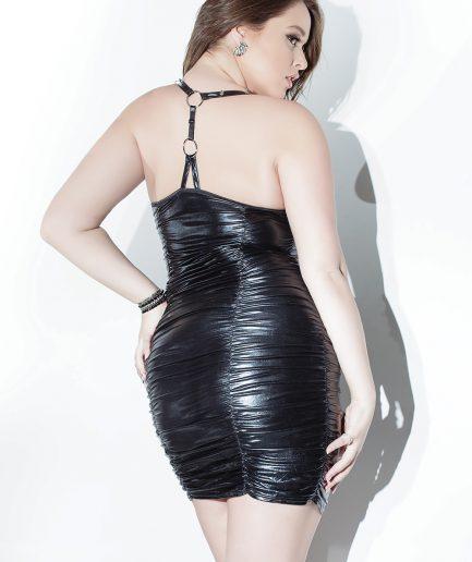 Gathered Wetlook Dress Plus Size